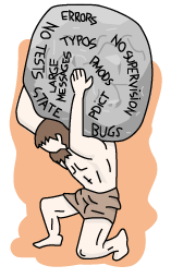 Atlas lifting a rock with bad practice terms such as 'no tests', 'typos', 'large messages', 'bugs', etc.
