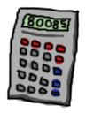 A calculator with the number '80085' typed in
