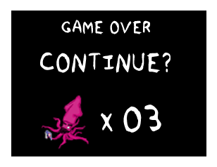 A game over screen with a pixelated LYSE squid with 3 lifes. The screen asks 'CONTINUE?'