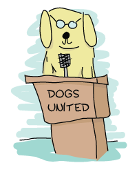 A dog with glasses standing at a podium where 'DOGS UNITED' is written