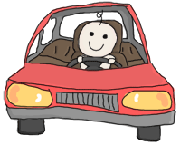 A baby driving a car