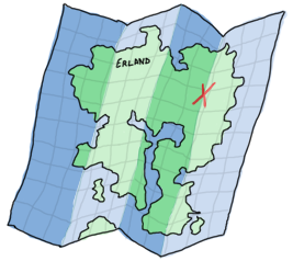 A map of Erland, the mystic Erlang island!