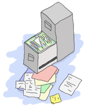 A file cabinet with files scattered on the ground