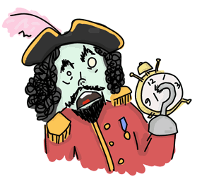 a pirate with a hook scared of time and clocks