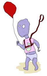 alien kid on a leash