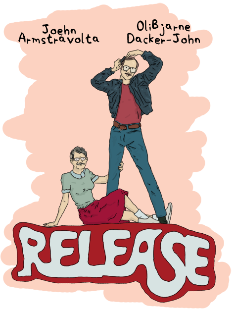 Parody of the poster of the Grease movie, where 'Grease' is replaced by 'Release', Olivia Newton-Jogn by Joe Armstrong and John Travolta by Bjarne Dacker