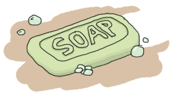 A piece of greenish soap