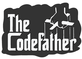 A parody of 'The Godfather' logo instead saying 'The Codefather'