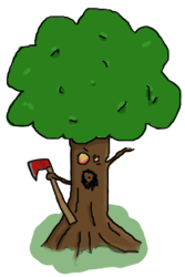An angry tree with an axe